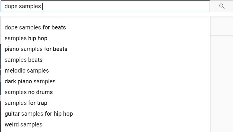 "YouTube Search Bar ""Samples"""